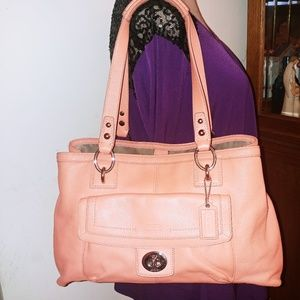 COACH ORANGE PEBBLE LEATHER LARGE HOBO HANDBAG